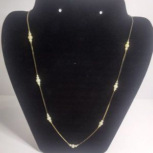"24"" Avon Gold-Tone and Pearl Necklace"